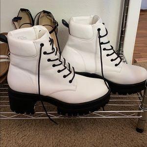 Faux Leather Combat Boots